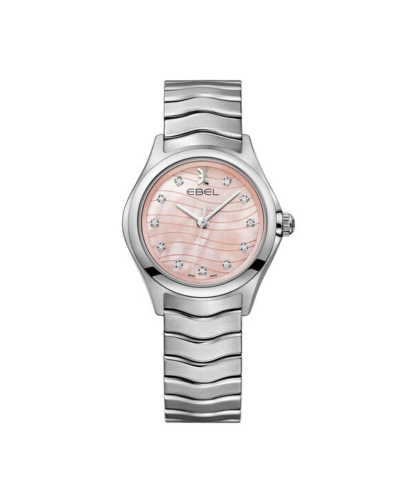 EBEL | Women's Watch EBEL Wave, stainless steel case, pink Mother of Pearl galvanic dial with diamonds