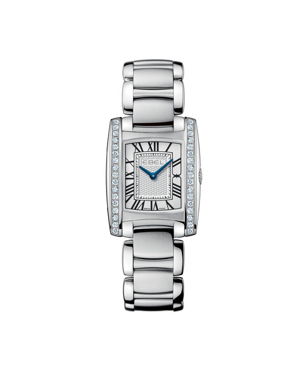 EBEL | Women's Watch Brasilia Mini, stainless steel case with diamonds, silver-toned metallic dial with painted roman numerals