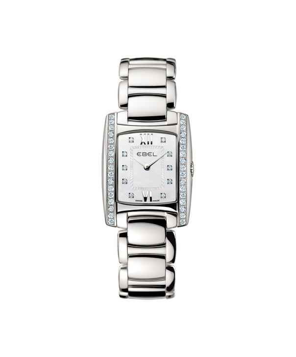 EBEL | Women's Watch Brasilia Mini, stainless steel case with diamonds, white mother-of-pearl dial with diamonds