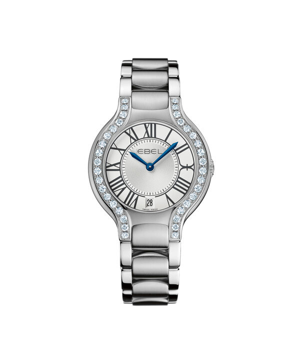 EBEL | Women's Watch Beluga Grande, stainless steel case with diamonds, silver-toned metallic dial with painted roman numerals