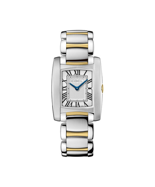 EBEL | Women's Watch Brasilia Mini, stainless steel and 18K yellow gold case, silver-toned metallic dial with painted roman numerals