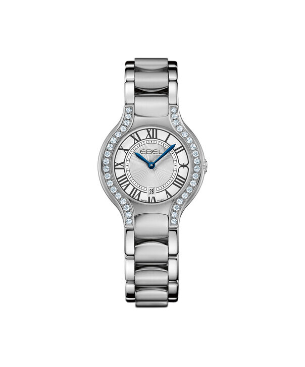 EBEL | Women's Watch Beluga Lady, stainless steel case with diamonds, silver-toned metallic dial with painted roman numerals